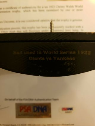 1923 World Series Game - Ball Signed by Ruth,  Huggins,  McGraw.  PSA Certified 7