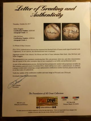 1923 World Series Game - Ball Signed by Ruth,  Huggins,  McGraw.  PSA Certified 8