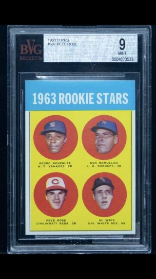 """1963 Topps 537 Pete Rose Reds Rc Rookie Bvg 9 """" Extreme Vibrant Colors """" Pop 5"""