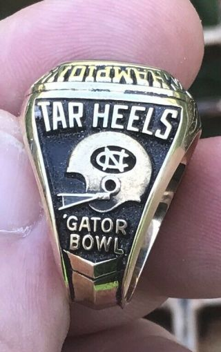 1971 North Carolina Tar Heels gator bowl champions championship 10k ring 3