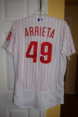 2018 Phillies Jake Arrieta 49 Game Worn Home Jersey Signed Cubs