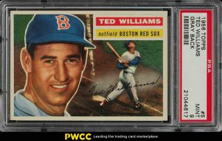 1956 Topps Ted Williams Gray Back 5 Psa 9 (pwcc)