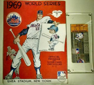1969 World Champion Ny Mets World Series Game 4 Signed Program And Ticket