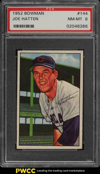 1952 Bowman Setbreak Joe Hatten 144 Psa 8 Nm - Mt (pwcc)