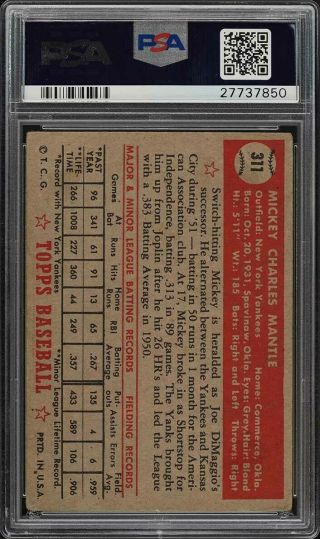 1952 Topps Mickey Mantle 311 PSA 2.  5 GD,  (PWCC) 2