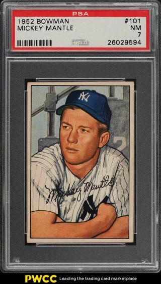 1952 Bowman Mickey Mantle 101 Psa 7 Nrmt (pwcc)