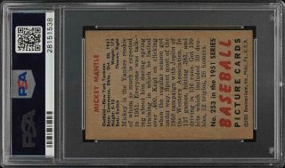 1951 Bowman Mickey Mantle ROOKIE RC 253 PSA 5.  5 EX,  (PWCC) 2