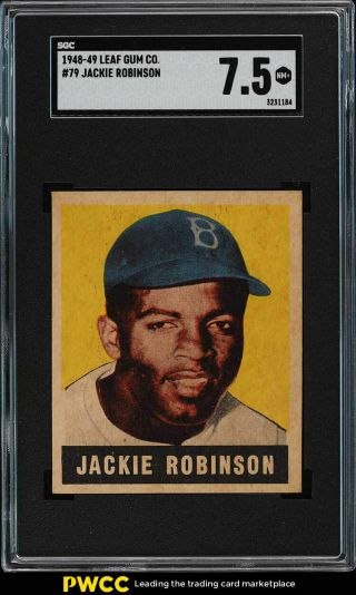 1948 Leaf Jackie Robinson Rookie Rc 79 Sgc 7.  5 Nm - Mt,  (pwcc)