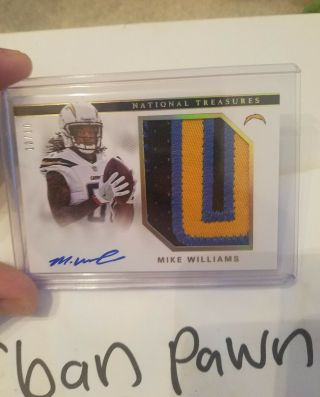 2017 National Treasures Gold Mike Williams Rc Auto 10/10 Jumbo Patch