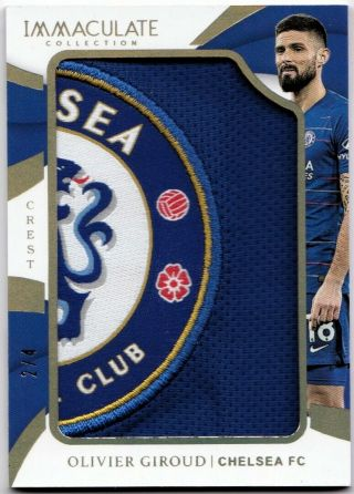 2018 - 19 Panini Immaculate Team Crests Chelsea Logo Patch Olivier Giroud 2/4