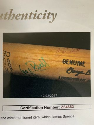 Authentic Autographed Game Baseball Bat Bo Jackson - And By George Brett