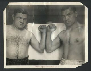 1926 Babe Ruth & Jack Dempsey Type 1 Photo Christy Walsh Syndicate Stamp
