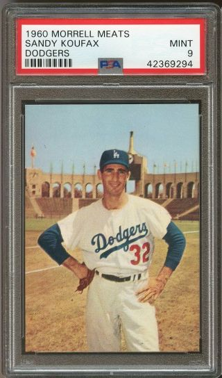 1960 Morrell Meats Dodgers Sandy Koufax Psa 9 Pop 6 Highest Grade Looks Gem