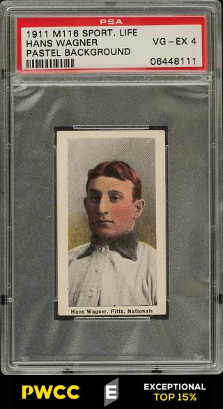 1911 M116 Sporting Life Honus Wagner Pastel Background Psa 4 Vgex (pwcc - E)