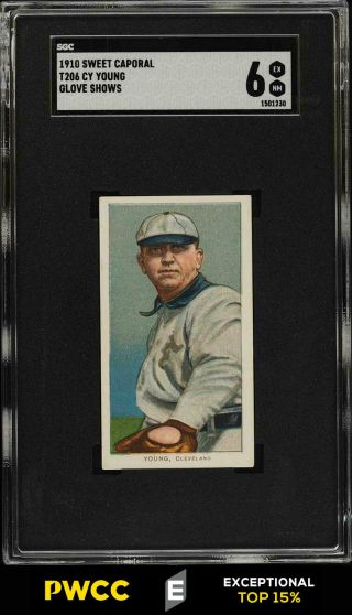 1909 - 11 T206 Cy Young Glove Shows Sgc 6 Exmt (pwcc - E)