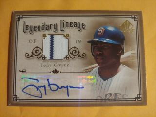 2005 Sp Legendary Cuts Tony Gwynn Legendary Lineage Game Material Auto 8/10