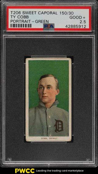 1909 - 11 T206 Ty Cobb Green Portrait Psa 2.  5 Gd,  (pwcc)