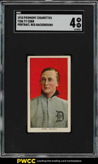 1909 - 11 T206 Ty Cobb Red Portrait Sgc 4 Vgex (pwcc)