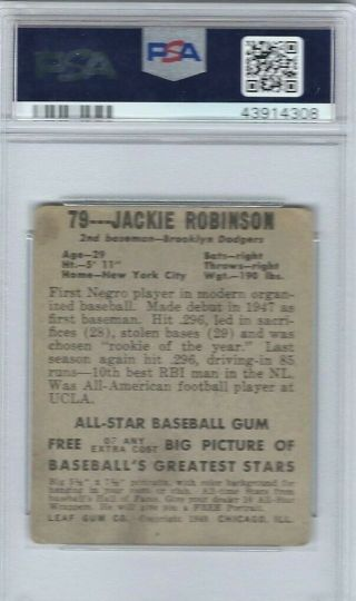 1948 Leaf 79 Jackie Robinson Brooklyn Dodgers PSA 2 Good 2