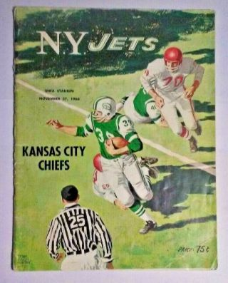 Nov 27,  1966 Afl Football Program Kc Chiefs At Ny Jets - 29 Jets Signed Autographs