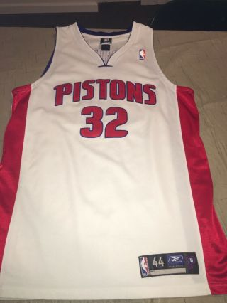 Richard Rip Hamilton 32 Pistons Authentic Reebok Game Jersey Sz 44 Rare