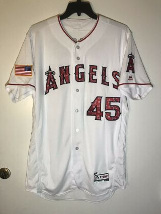 Tyler Skaggs Game Team Issued Los Angeles Angels Jersey July 4 MLB Hologram 2
