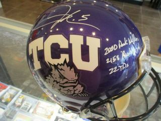Uda Authentic Signed Ladainian Tomlinson Auto Tcu Full Size Real Helmet Inscrips