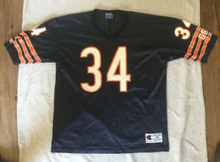Walter Payton 34 Vintage 90s Champion Chicago Bears Blue Jersey Size 44 Large L