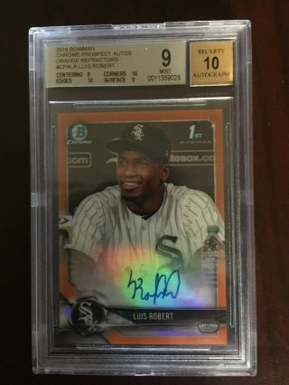 Luis Robert Bowman Chrome Rc Auto Orange Refractor Bgs 9 W/ 2 10 Subs