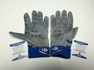 "Dexter Fowler Signed Chicago Cubs Game Baseball Batting Gloves "" 16 Gu "" Bas"
