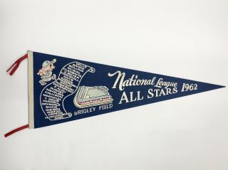 1962 National League All - Star Pennant Wrigley Field Scroll Vg Ex Cond
