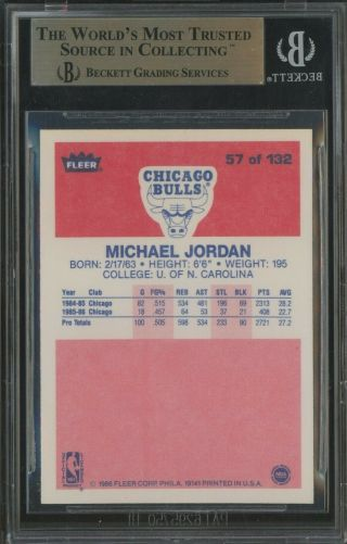 1986 Fleer 57 Michael Jordan RC Rookie HOF BGS 9.  5 w/ 10