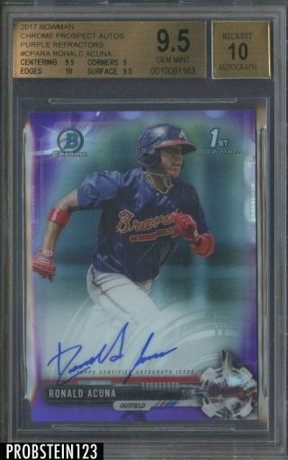 2017 Bowman Chrome Purple Refractor Ronald Acuna Braves Rc Auto /250 Bgs 9.  5