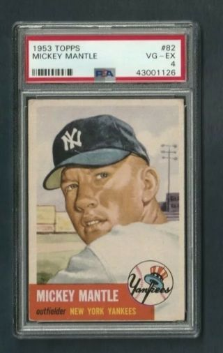 1953 Topps Mickey Mantle 82 Psa 4 Vgex Yankees Hof Well - Centered - No Creases