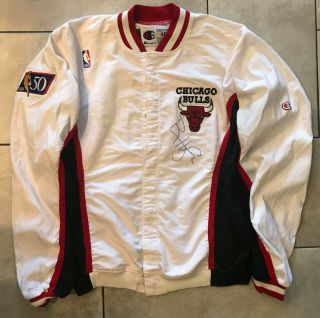 96 - 97 Ron Harper CHICAGO BULLS Game Worn Autograph Signed Warmup NBA Jacket 2