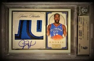 2009 - 10 National Treasures 203 James Harden Rookie Patch Auto Rc /25 Bgs 9/10