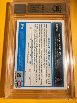 BGS 9.  5 /10 2009 BOWMAN CHROME DRAFT MIKE TROUT X - FRACTOR AUTO /225 1/1 ? 2