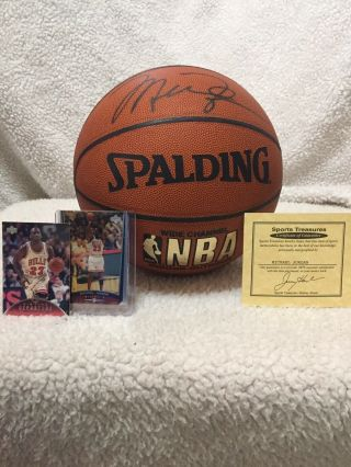 Michael Jordan Signed Basketball With Case,  Authentic Certificate