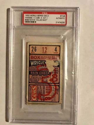 1932 World Series Game 3 Ticket Stub Yankees Cubs Wrigley Ruth