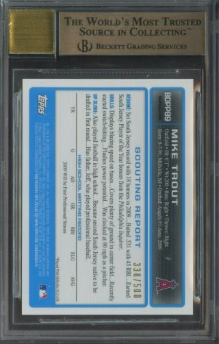 2009 Bowman Chrome Refractor Mike Trout Angels RC Rookie AUTO /500 BGS 9.  5 w/ 10 2