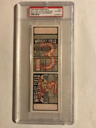 1932 World Series Game 3 Full Proof Ticket Yankees Cubs Babe Ruth