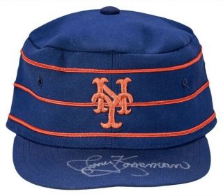 Mets Jerry Koosman Game Worn 1976 Pillbox Cap Hat Signed 2