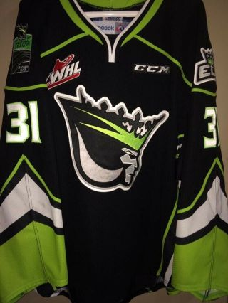 Joshua Dechaine Edmonton Oil Kings Game Worn Alt Jersey Photo Reference 2016 - 17