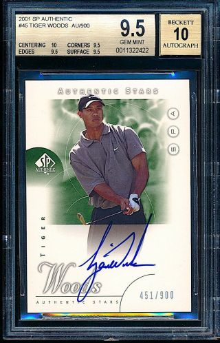 2001 Sp Authentic Golf Auto Tiger Woods Rookie Rc /900 Bgs 9.  5 10