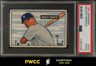 1951 Bowman Mickey Mantle Rookie Rc 253 Psa 2 Gd (pwcc - E)