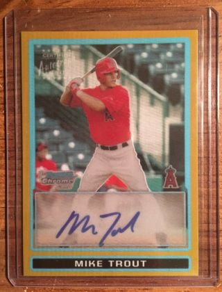 Mike Trout 2009 Bowman Chrome Gold Refractor Autograph Rookie 02/50 Reprint Rp