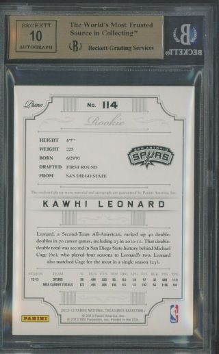 2012 - 13 National Treasures Kawhi Leonard RC Patch AUTO /199 BGS 9.  5 w/ (2) 10 ' s 2