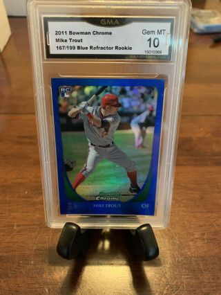 2011 Bowman Chrome Mike Trout Blue Refractor Rc 101 167/199