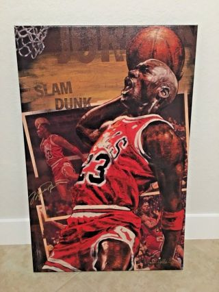 Chicago Bulls Michael Jordan Signed Stephen Holland 30x40 Giclee Canvas 4/14 Uda