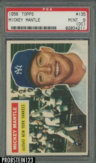 1956 Topps 135 Mickey Mantle Yankees Hof Gray Back Psa 9 (oc) High End